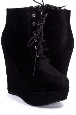BLACK FAUX SUEDE LACE UP PLATFORM WEDGE BOOTIES,Women's Wedge ...