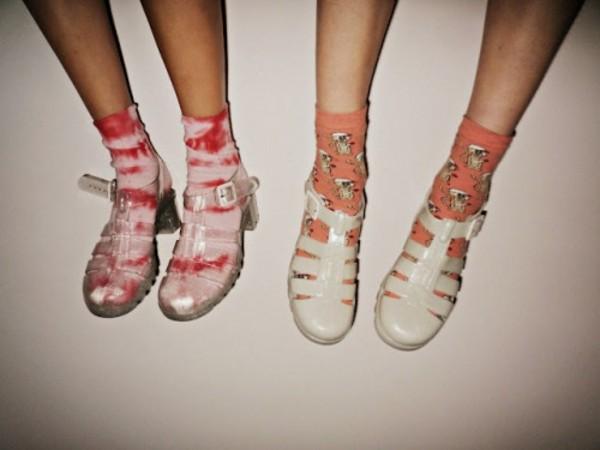 shoes socks summer hipster indie sandals plastic socks and sandals