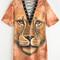 Yellow lion print eyelet lace up tee dress -shein(sheinside)