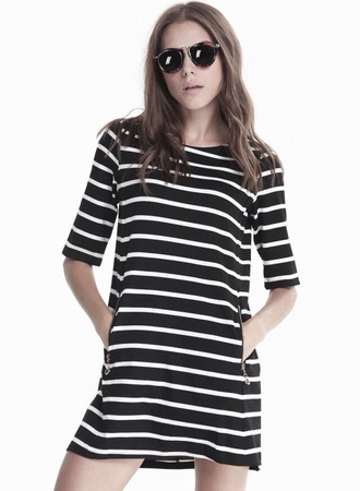 dress stripes black & white mid sleeves