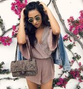 romper,plunge v neck,wrap dress,shay mitchell,spring,spring outfits,purse,instagram,sunglasses,shorts,top,bag