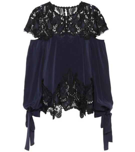 Jonathan Simkhai blouse lace blue top