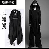 coat,black,cloak,hooded,punk,goth,vampire,cape,jacket,street goth,blvck