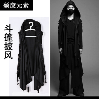 coat black cloak hooded punk goth vampire cape jacket street goth blvck