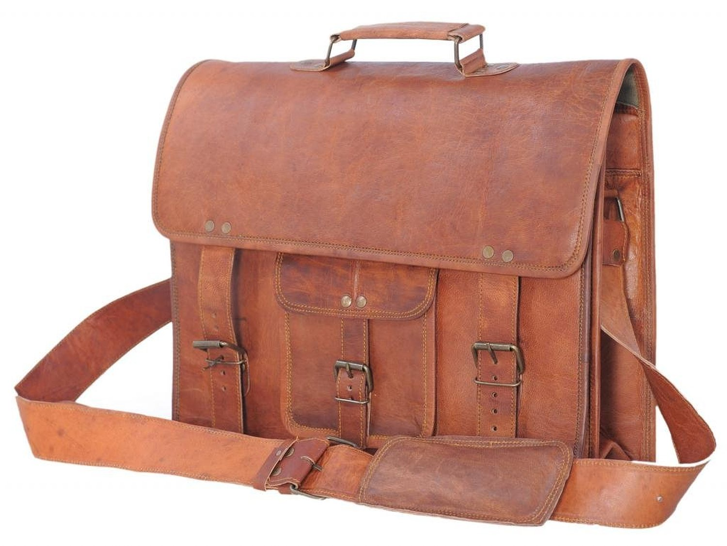 Passion Leather 16 Inch Vintage Look Leather Laptop Messenger Briefcase Satchel Bag: Luggage & Travel Gear: Amazon.com