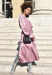 dress,boots,purple dress,bag