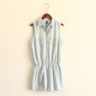romper denim cute casual pockets jeans summer dress blue