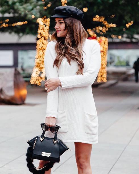 dress tumblr mini dress sweater sweater dress knit knitted dress white dress bag black bag hat fisherman cap
