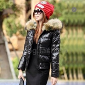 jacket,faux fur jacket,puffer jacket,black,fur,down jacket
