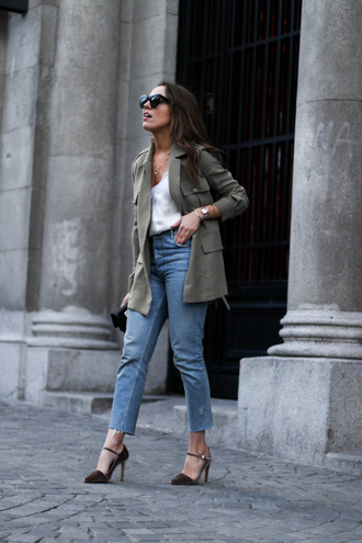shoes white top blazer pumps jeans denim sunglasses