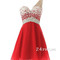 Red chiffon one shoulder short prom dresses, homecoming dresses - 24prom