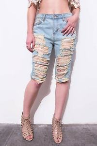 Women Knee Length Mid Rise Casual Shredded Ripped Denim Jean ...