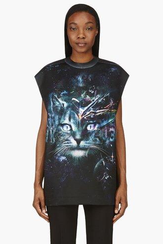 cosmic black clothes shirt ssense exclusive green cats women muscle tank top