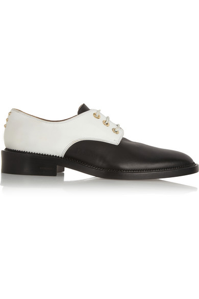Givenchy|Rounded Derby in black and white mat leather|NET-A-PORTER.COM