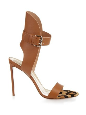 hair sandals leather tan shoes