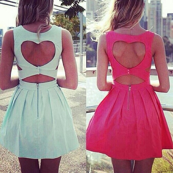dress pink heart blue dresw cutout heart on the back cut-out cut out dress short dress mint sleeveless dress skater dress cute dress cut offs