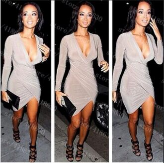 wrap asymmetrical asymmetrical hem nude nude dress dress bodycon dress bodycon v neck dress vneck dress v neck deep v-neck dress plunge v neck nude bodycon dress asymmetrical drape dress