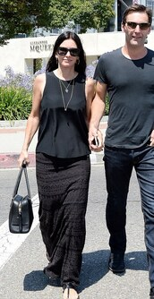 skirt,courteney cox,maxi skirt,bag,jacquard skirt