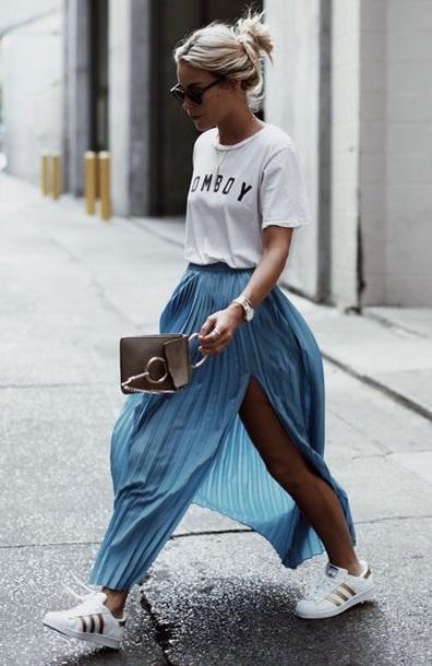 skirt blue blue skirt slit skirt cute