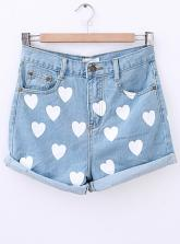 Hot Sale Heart Print Shorts In Light Blue$28