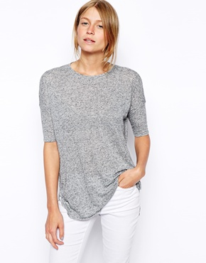 ASOS | ASOS Curve Hem Top in Linen Mix at ASOS