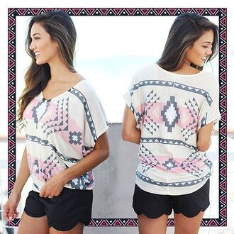 top aztec top aztec print top multi color top short sleeve top cute top printed top savedbythedress