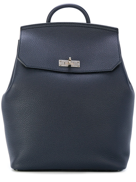 Bally women new backpack leather blue bag