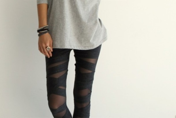 black pants pants tights bandage leggings black grey top ring bracelets accessories clear background leggings