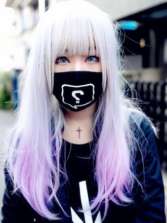 scarf black white cute japan asian kawaii mask accessories hair accessory pastel goth wig pastel wig gloves bandana