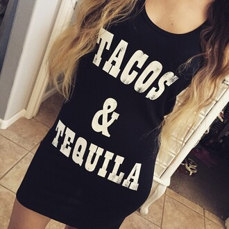 tank top angl tacos & tequila tacos tequila graphic tee quote it grunge style fashion funny shirt tuesday's instagram tumblr