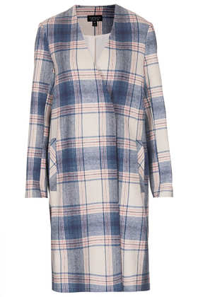 Pale Check V Front Coat - Jackets & Coats  - Clothing  - Topshop USA