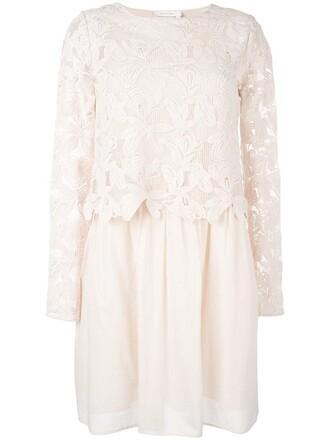 dress lace dress women lace cotton purple pink