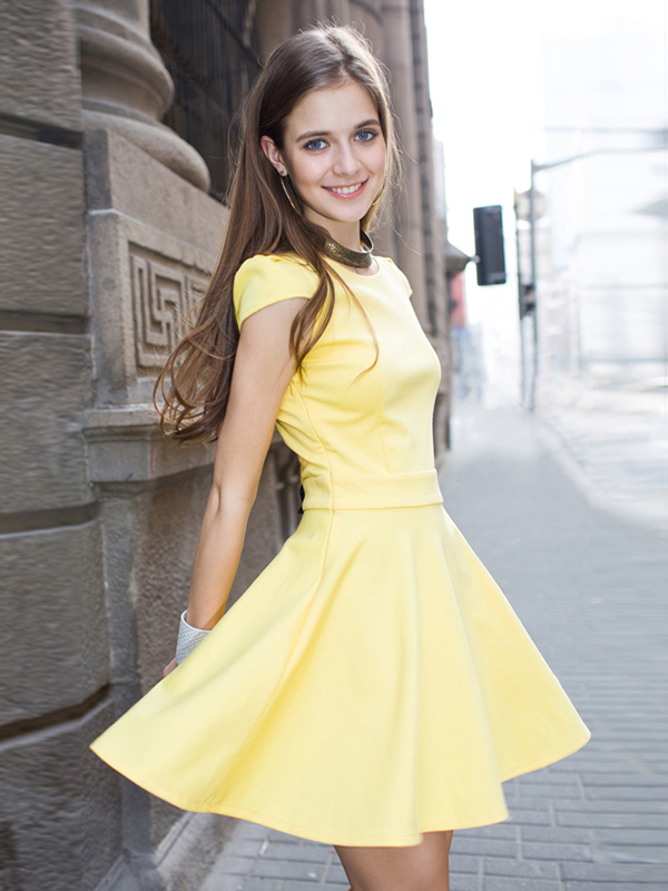 Yellow/Fuchsia Short Sleeve Peplum Mini Dress : KissChic.com