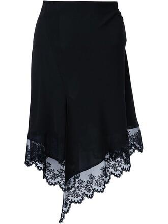 skirt lace floral black