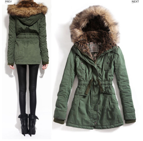 Jacket: army green jacket, faux fur jacket, clothes, green ...