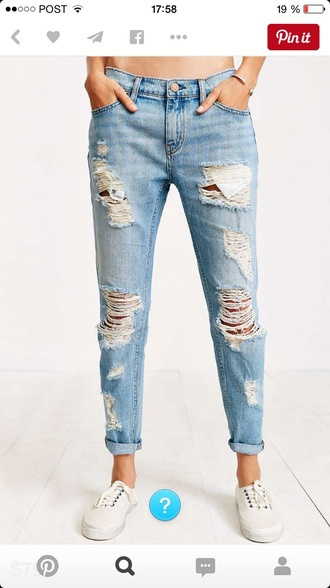 pants boyfriend jeans ripped jeans jeans distressed denim jeans