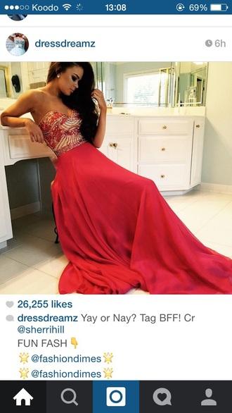 dress red dress long dress prom dress