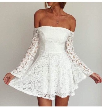 dress long sleeves long sleeve dress outfit white dress peplum short dress cute dress off the shoulder
