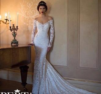dress wedding dress white dress long dress long sleeve dress