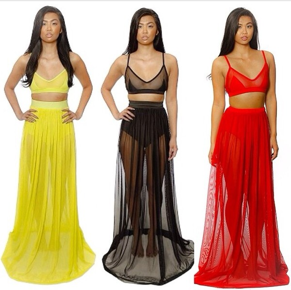 dress skirt mesh crop tops mesh skirt see through crop tops sheer skirt yellow red black two-piece mesh exotic top peek a boo gorgeous rihanna celebrity bodycon black skirt yellow skirt red skirt net see through underwear long skirt pretty summer outfits summer swimwear seethru