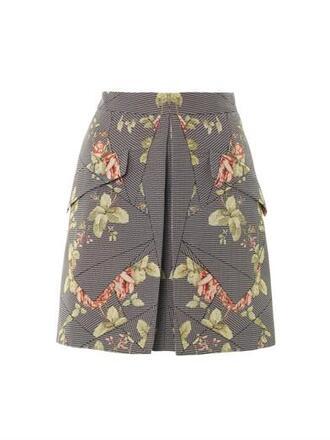 skirt mcq floral houndstooth mini skirt mini skirt grey floral alexander mcqueen