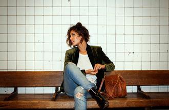trop rouge jacket t-shirt jeans shoes bag