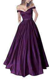 dress,plum,off the shoulder,sweetheart neckline,long dress