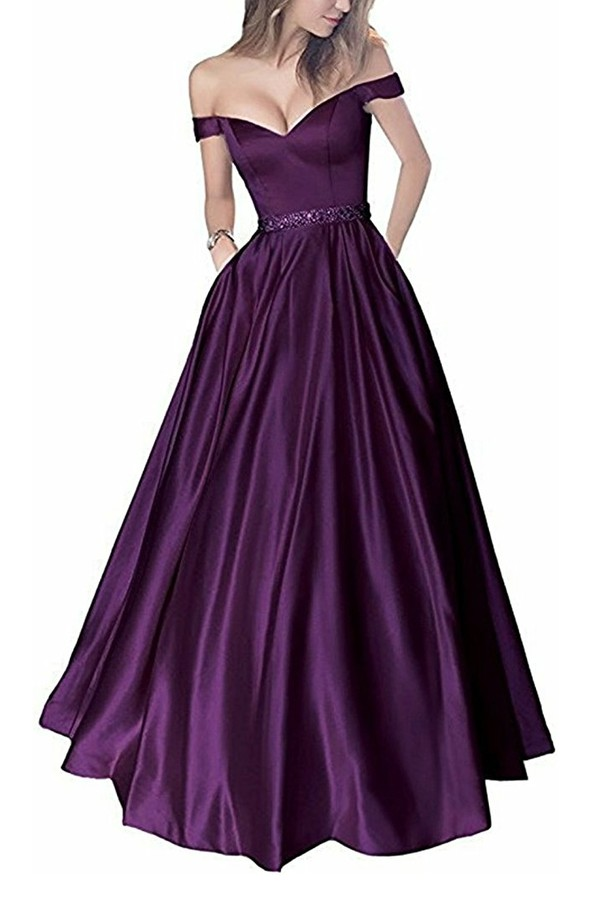 dress plum off the shoulder sweetheart neckline long dress