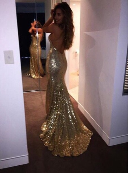 Dress Gold Prom Dress Glitter Gold Sparkle Dress Sparkly Prom