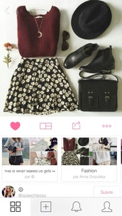 skirt,floral skirt,black and white,cute,style,bag,jewels,cardigan,sweater,fashion,flowers,black,bordeaux sweater,burgundy,grunge,90's grunge style,90s style,cool