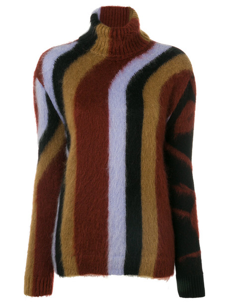 No21 sweater women mohair wool pattern red