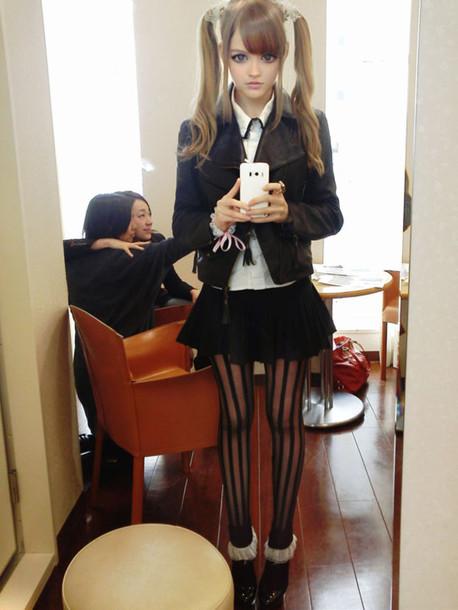 skirt dakotakoti kotakoti dakota rose dakota ostrenga black pleated skirt mini skirt cute jacket