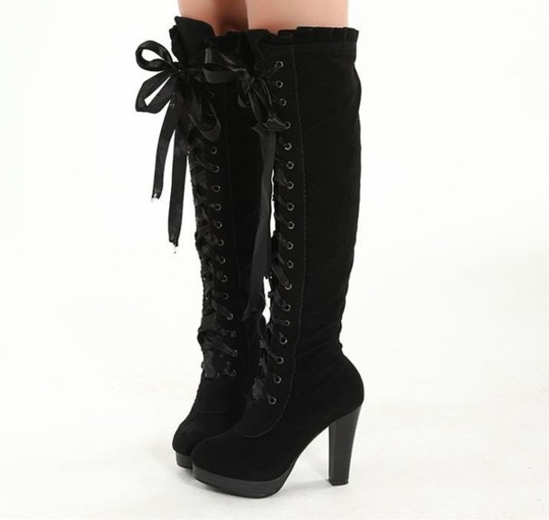 Shoes: boots, cute, black, lace, asian, boots navy cute - Wheretoget