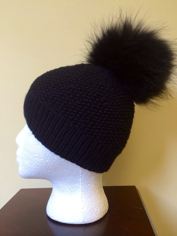 READY TO SHIP  Black Cashmere Beanie Hat  by HandmadeKnitsHats